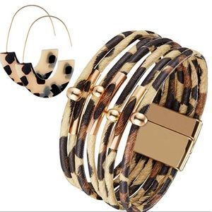 Leopard  Multilayer Cuff Bracelet and  Earrings